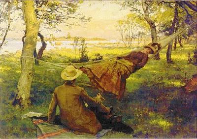 Hammock in  Painting Johan Fredrik Krouthen