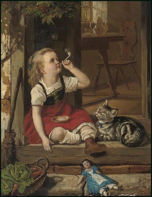 A.Rau German Artist Blowing Bubbles in Painting