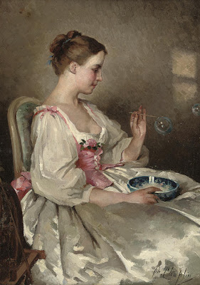 Charles Chaplin French Artist Blowing Bubbles in Painting
