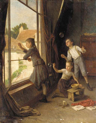 Theophile-Emmanuel Duverger French Artist Blowing Bubbles in Painting