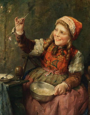 Edward Antoon Portielje Blowing Bubbles in Painting