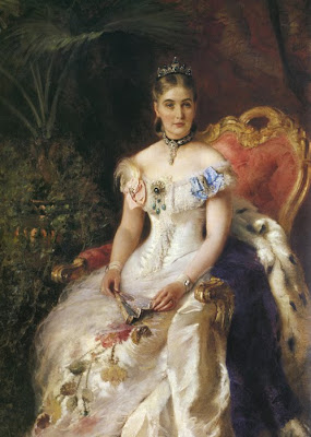 Fan in Painting Konstantin Makovsky. Portrait of Maria Volkonskaya