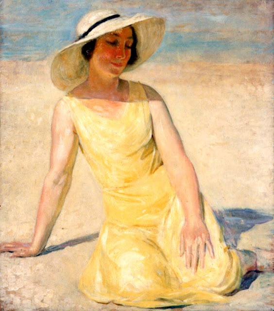 Painting by French Artist Emile Delobre. Yellow Dress and White Hat 1929
