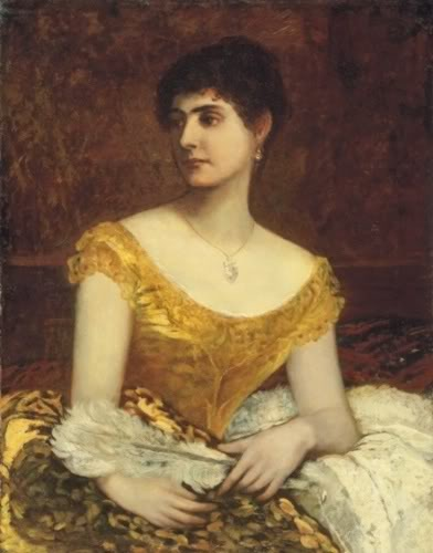 German-Hungarian painter Károly Lotz Lady in Yellow Dress in Painting.