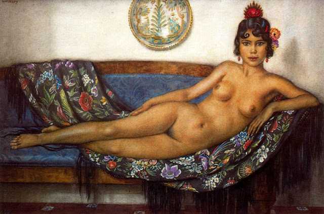 Nude Painting,George Owen Wynne Apperley, figurative oil painting, portrait painting