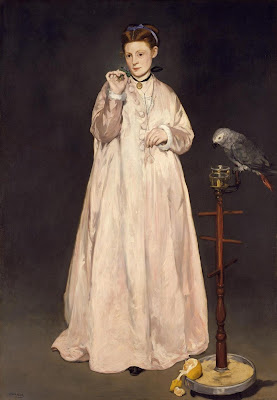 Painting by Edouard Manet Woman with Parrot, 1866