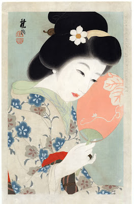 Nakayama Shuko Japanese Ukiyo-e Prints Ladies with Fan