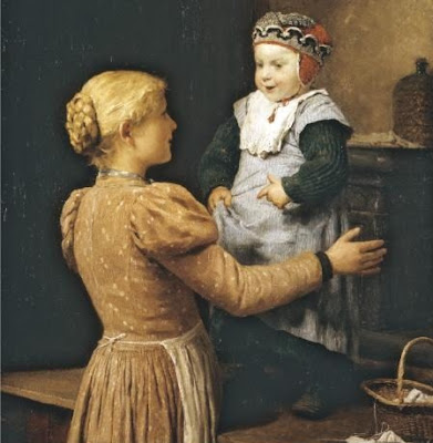 Painting by Swiss Artist Albert Anker