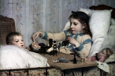 Children in Painting by Swiss Artist Albert Anker