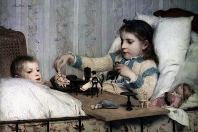 Children in Painting by Swiss Artist Albert Anker