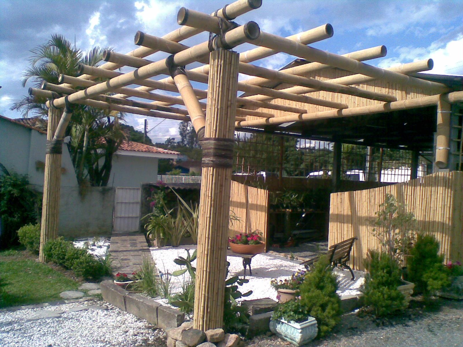 Bambu fabio bambuzeiro p rgola com gigante e forro com - Pergola bambu ...