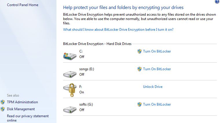(c) click on turn on bitlocker it'll ask you for password :
