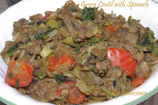 Green Lentils with Spinach