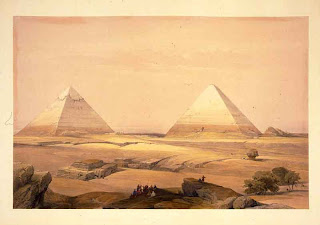 Lithographic print from the 1840s depicting the Great Pyramid and neighbouring Khafre's Pyramid.