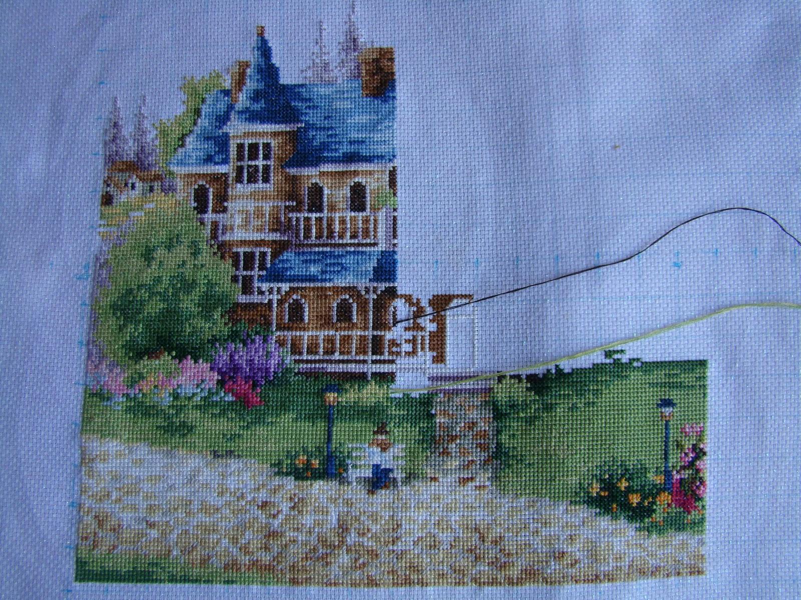 Схема для вышивки зеленая деревенька 26