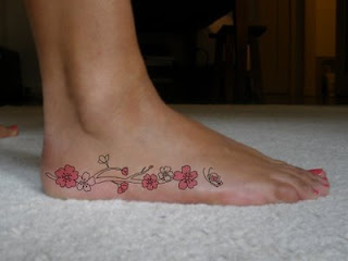 Women Foot Japanese Cherry Blossom Tattoos Picture 5