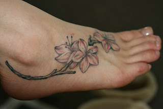 Women Foot Japanese Cherry Blossom Tattoos Picture 7