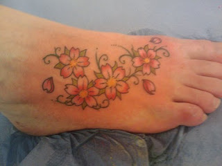 Women Foot Japanese Cherry Blossom Tattoos Picture 1