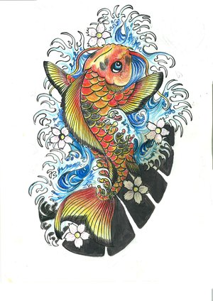 Japanese Koi Fish Tattoo Design Picture 3