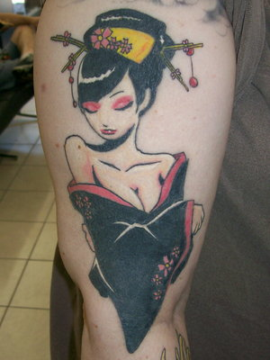 Thigh Japanese Tattoos Picture With Geisha Tattoo Designs With Image Thigh