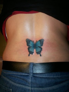 Women Butterfly Lower Back Tattoos Picture 4