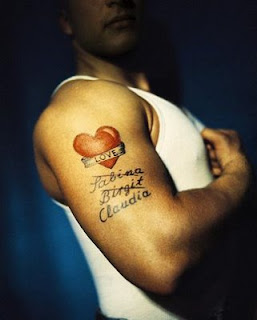 Heart Tattoo  Combination  With Letter Tattoo Designs
