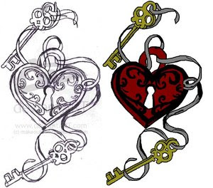 Key And Heart Tattoo Design