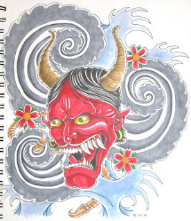 Japanese Tattoo With Image Japanese Mask Tattoos Especially Japanese Hannya Mask Tattoo Design 9