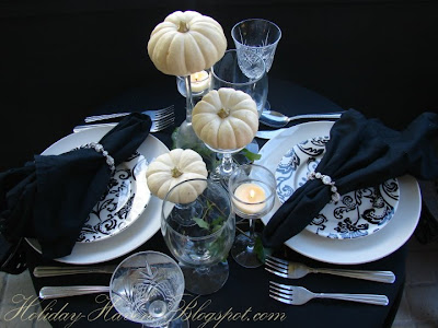 Elegant white pumpkin tablescape