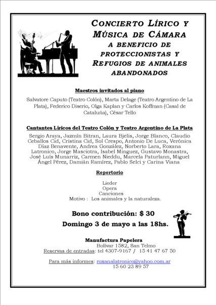 CONCIERTO LIRICO A BENEFICIO DE DISTINTOS REFUGIOS DE ANIMALES ABANDONADOS