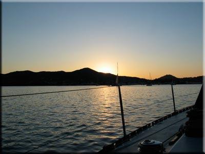 tramonto in rada a Portoferraio