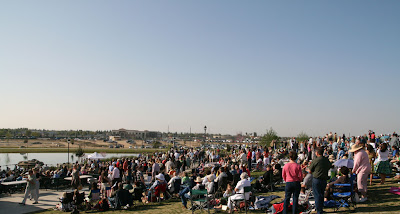 A view of the crowd in the grass section at the Riverlakes Church Easter service.