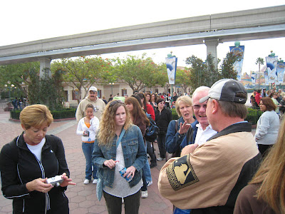 The crew in at the Disneyland entrance on Thanksgiving day at California Adventure