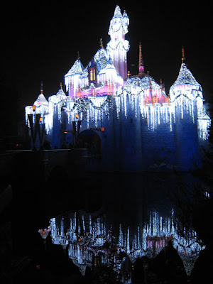 Nice reflective shot of Snow White's Castle at night with lights at Disneyland on Thanksgiving