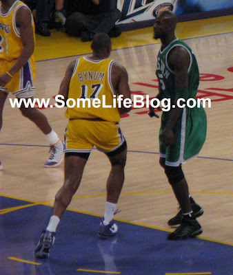 Andrew Bynum with his short shorts at Staples Center for Lakers vs. Celtics