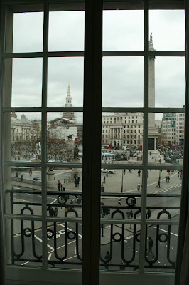 The view from our room into Trafalfar Square in London, England at the Hilton Trafalgar