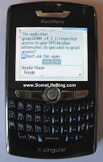 Google Mobile Maps GMM with GPS for Blackberry 8800 Series Installation Picture 7