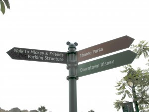 Hidden Mickey in the Mickey & Friends parking lot on the directional signs at Disneyland in Anaheim, California