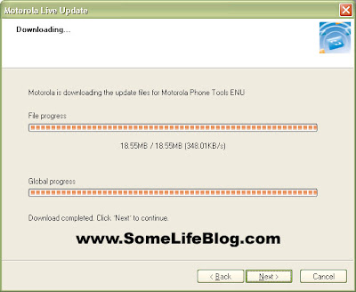 Motorola Live Update, Mobile Phone Tools Version 4.50 to 4.51c Step 3