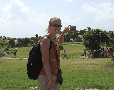 Ashley squishing the Tulum Temple