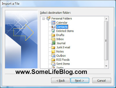 Choose the contacts folder to import your contacts into