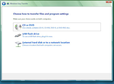 Choose the option for CD or DVD (Use a blank, writeable CD-R, CD-RW, DVD-R, or DVD-RW disc) for Windows Easy Transfer.