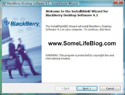 The Blackberry Desktop Software 4.3 Welcome Screen.  Click next to continue.