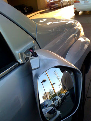 Damaged side view mirror on the Lexus GX470