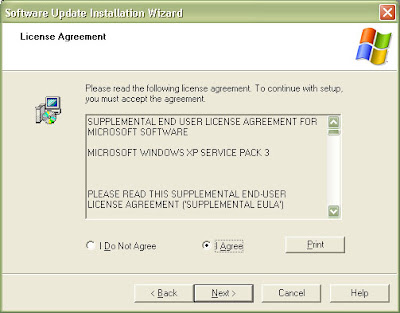 Legal and licensing information for Windows XP Service Pack 3, select the I Agree radio button and click next.