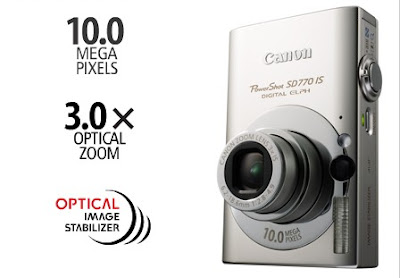 Canon Powershot SD770 IS with 10.3 megapixels, 3.0x optical zoom, and image stabilization