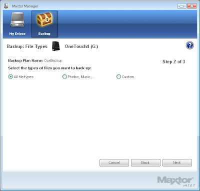 Maxtor Mnager for One Touch4 now supports the Documents and Settings folder for Windows XP backups
