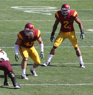 Taylor Mays #2 and Clay Matthews #47 are ready to defend the USC Trojans.