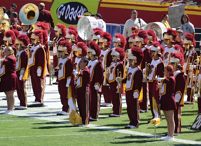 The USC Trojan's marching band lines up to take the field before the Arizona State game.