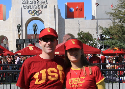 We pose right in front of the Coliseum in our USC attire.